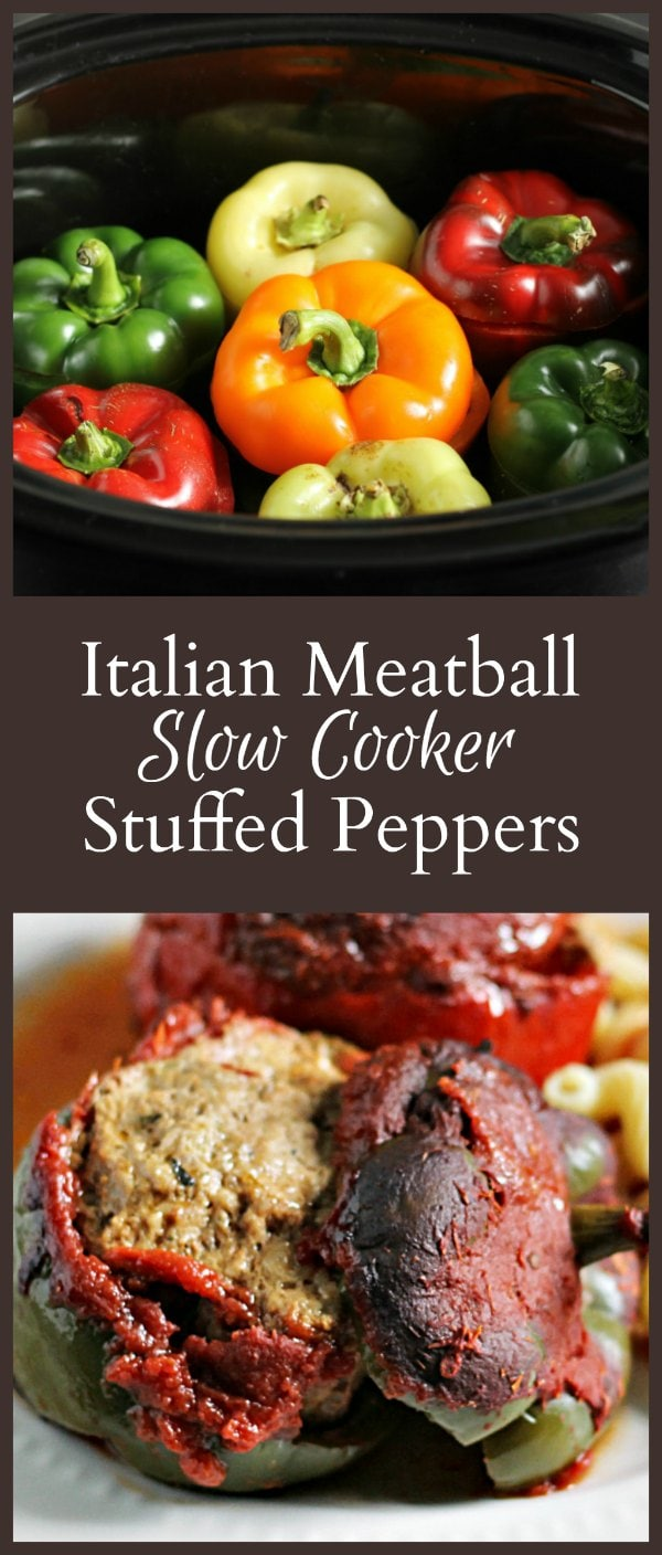 Italian Meatball Slow Cooker Stuffed Peppers