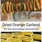 Dried orange garland with bay leaves, cinnamon sticks above slice oranges drying in the oven.