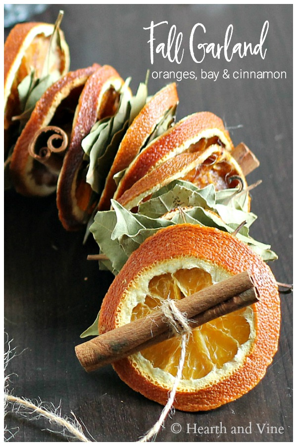 Dried orange slices, bay leaves and cinnamon stick garland