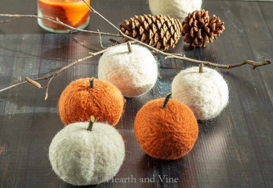 Felted Dryer Ball Pumpkins For Decor and Future Use
