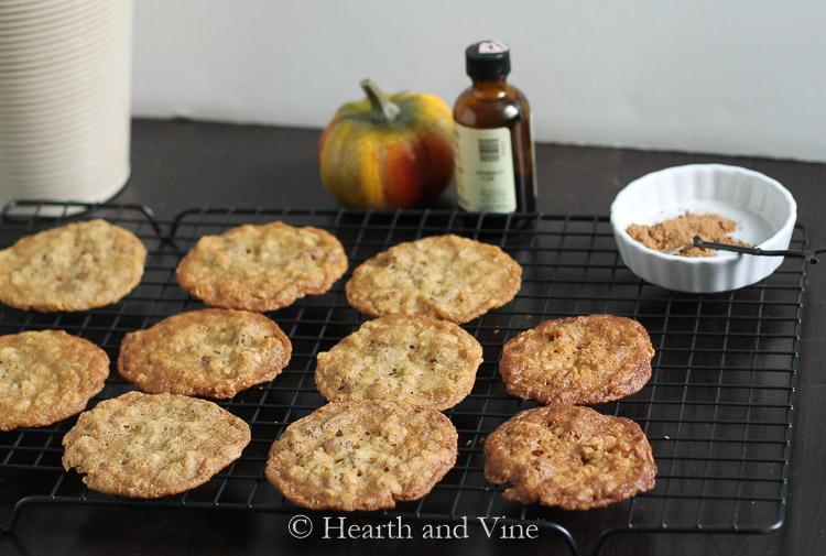 Pumpkin pie spice cookies on tray