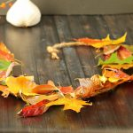 Natural fall leaf garland on table