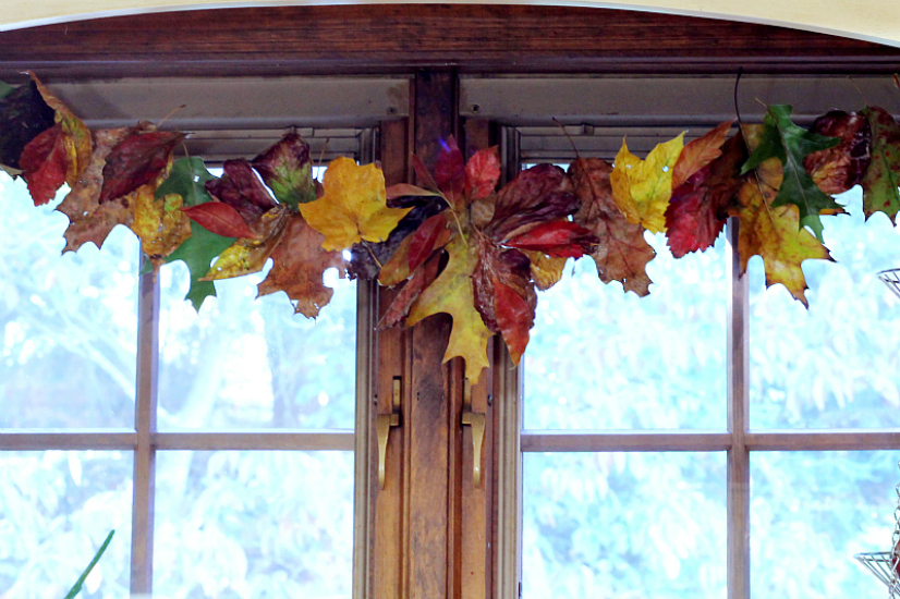 Real fall leaf garland hung in window