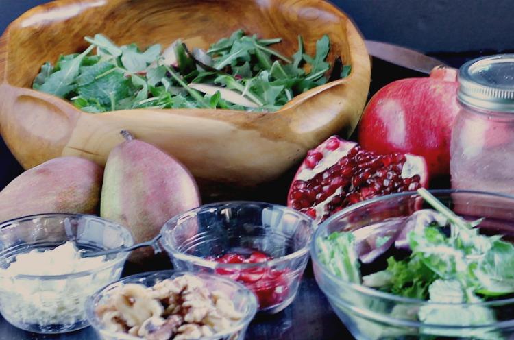 Pear, pomegranate salad ingredients