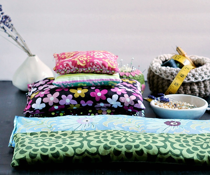 Different sized homemade corn bag heating pads.