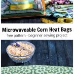 Corn feed bag, fabric and measuring tape over a bowl of corn and lavender flower and a long corn bag.