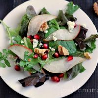 Pear, Pomegranate, & Walnut Salad with Pomegranate Vinaigrette