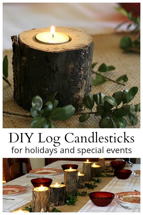 Rustic log candlesticks
