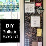 Floral cork bulletin board hung vertically on the wall.