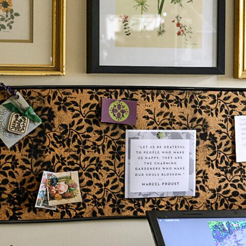 Black floral bulletin board