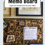 Black floral print on cork memo board.
