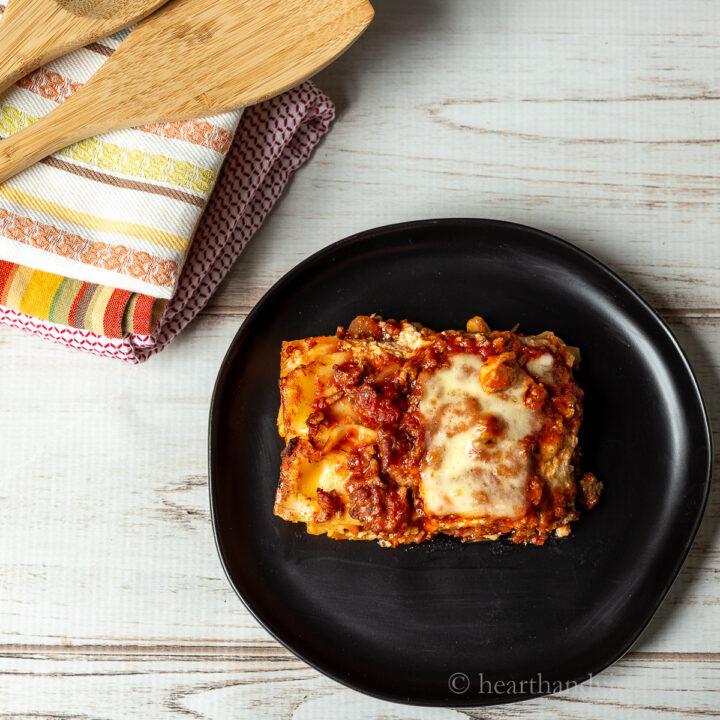 Serving of Italian lasagna