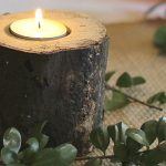 Five inch log with tealight in the top.