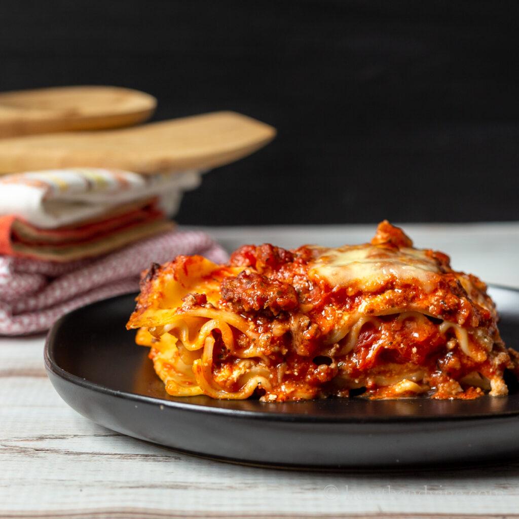 Serving of homemade lasagna