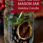 Mason jar with dried orange slices, cranberries, pine cones and a wooden skewer.