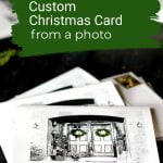 Black and white pen ink photo on cards with green wreaths.