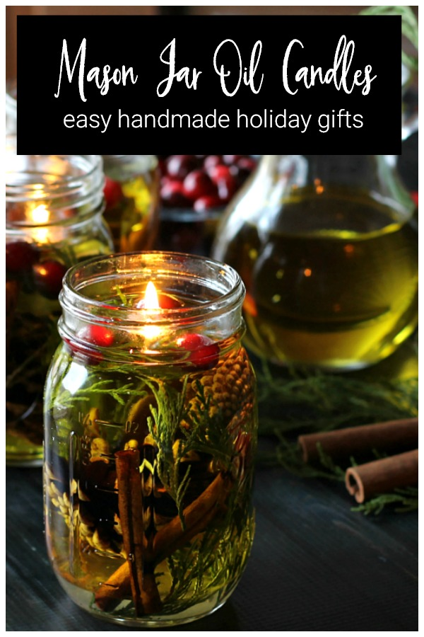 Holiday mason jar oil candles
