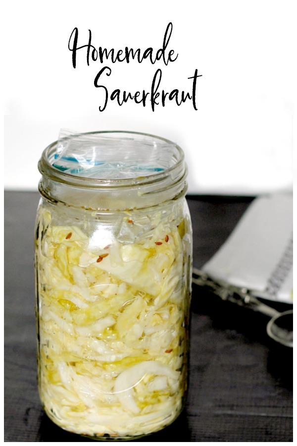 Homemade sauerkraut in mason jar