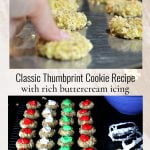 A thumb making a print in a cookie above rows of frosted thumbprint cookies.