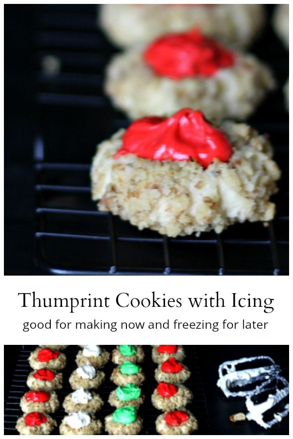 Thumbprint cookies with buttercream icing.