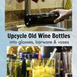 Wine bottle under running water sideways and a wine bottle glass with ice below.