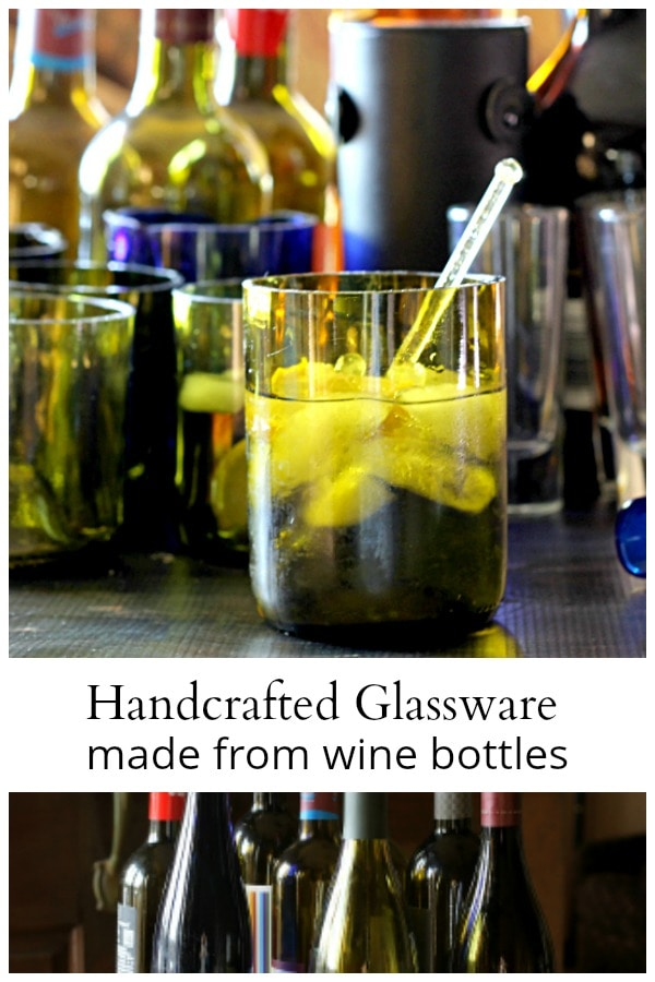 Bar and glassware made from wine bottles