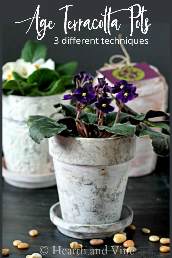 faux aged terracotta pots