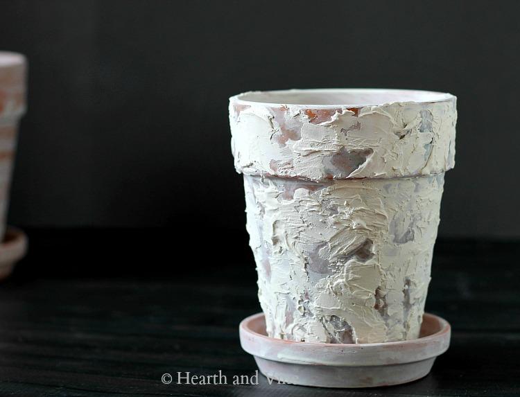plaster on terracotta pot