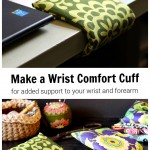 Wrist cuff on edge of desk over an image of two cuffs laying on a table.