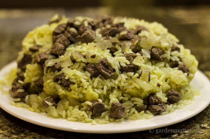 Cauliflower Beef and Rice Platter ~ Middle Eastern Top Rice ~ gardenmatter.com