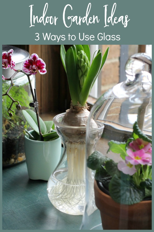 table with glass gardening items