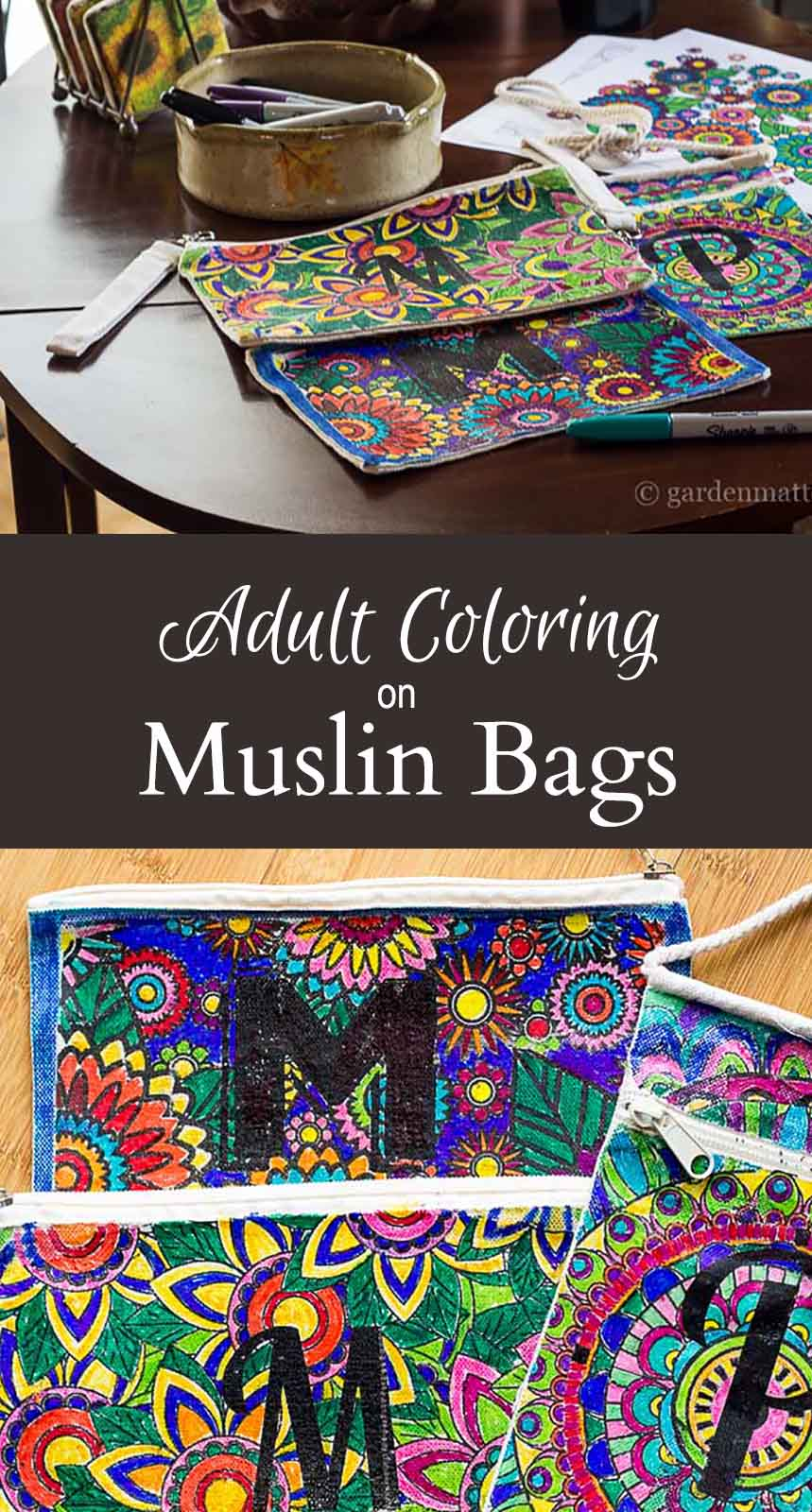 Transfer adult coloring pages onto a canvas bag. This is a fun way to spend time with your girlfriends and give them a special gift too.