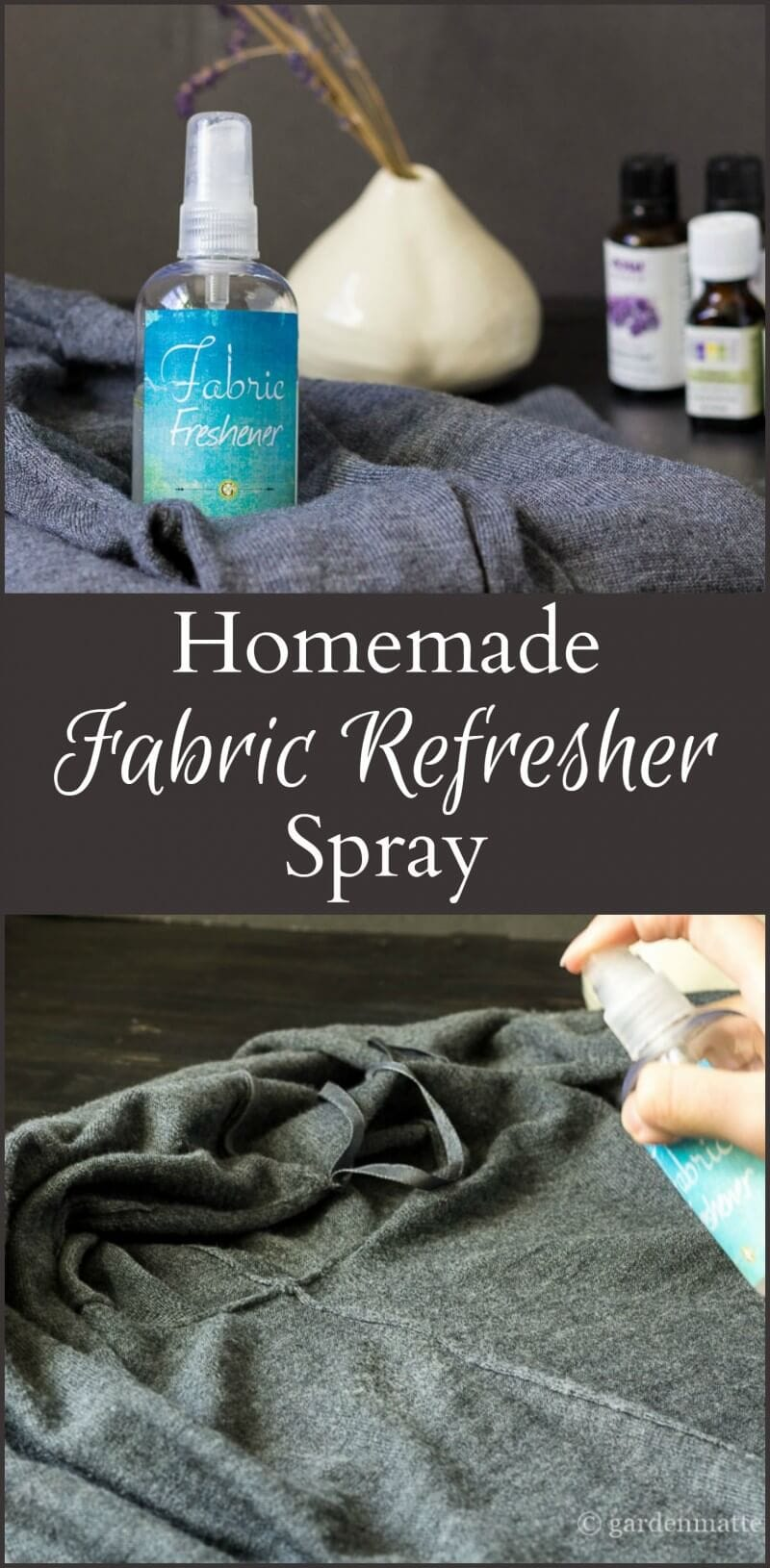 This homemade fabric refresher spray is a great way to lift unpleasant odors from sweaters and other fragile fabric instead of going to the dry cleaner.