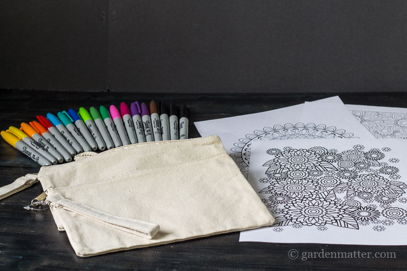 Materials for coloring bags ~ adult coloring pages ~ gardenmatter.com