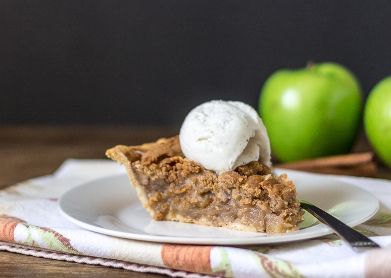 Slice with Vanilla Ice Cream ~ Dutch Apple Pie Recipe ~ gardenmatter.com