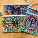 three colored monogrammed bags ~ adult coloring pages ~ gardenmatter.com