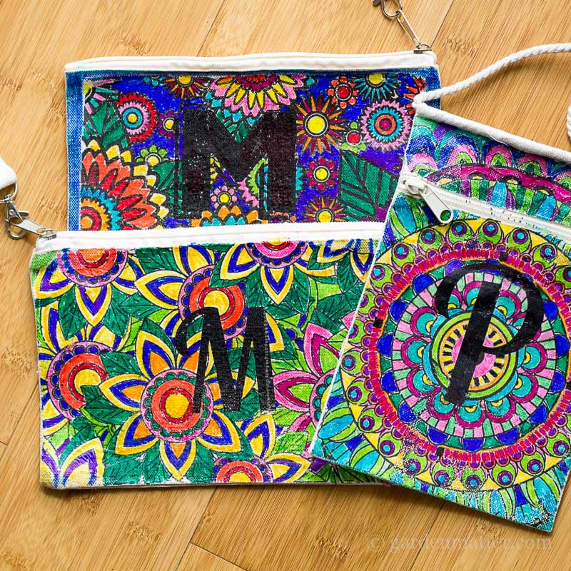 three colored monogrammed bags ~ adult coloring pages