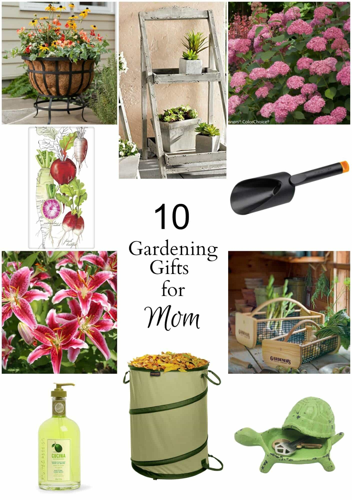 Sharing 10 gardening gifts for mom, dad or anyone who loves to garden ranging in price from $5 to $70 with an average of $20.