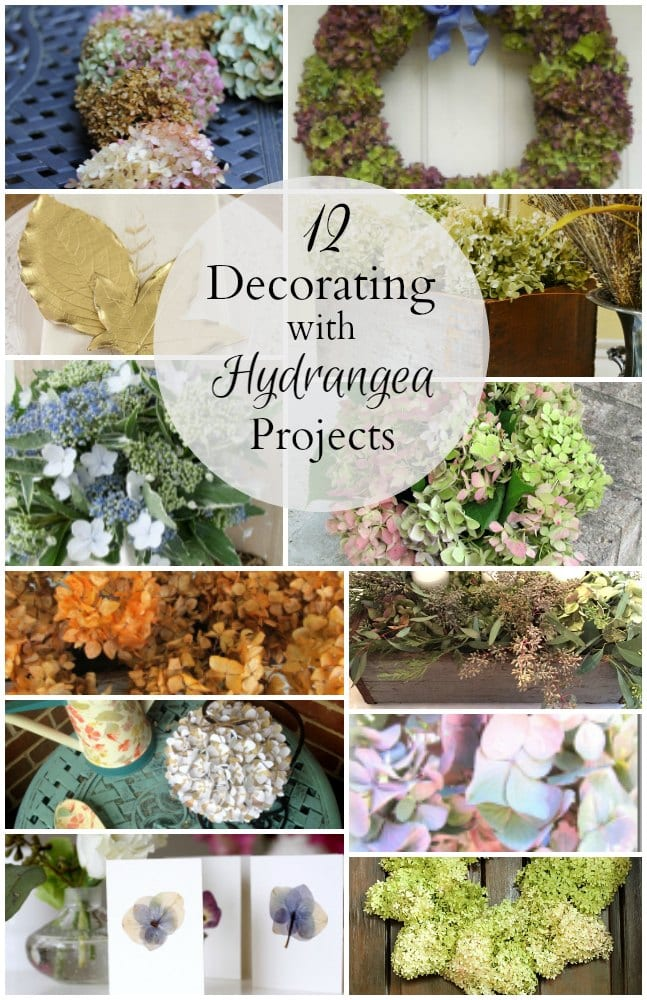 Here's a roundup of 12 different ways to decorate with hydrangeas. From wreaths, centerpieces and more ideas to enjoy this natural beauty in the home.
