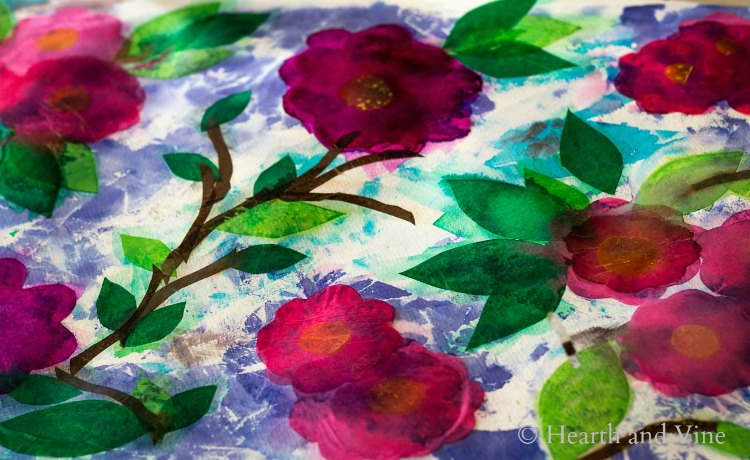 Tissue paper flower painting