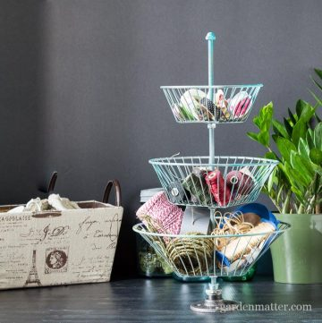 Filled 3 tier wire basket stand sq ~ Repurposed Wire Basket Stand ~ gardenmatter.com