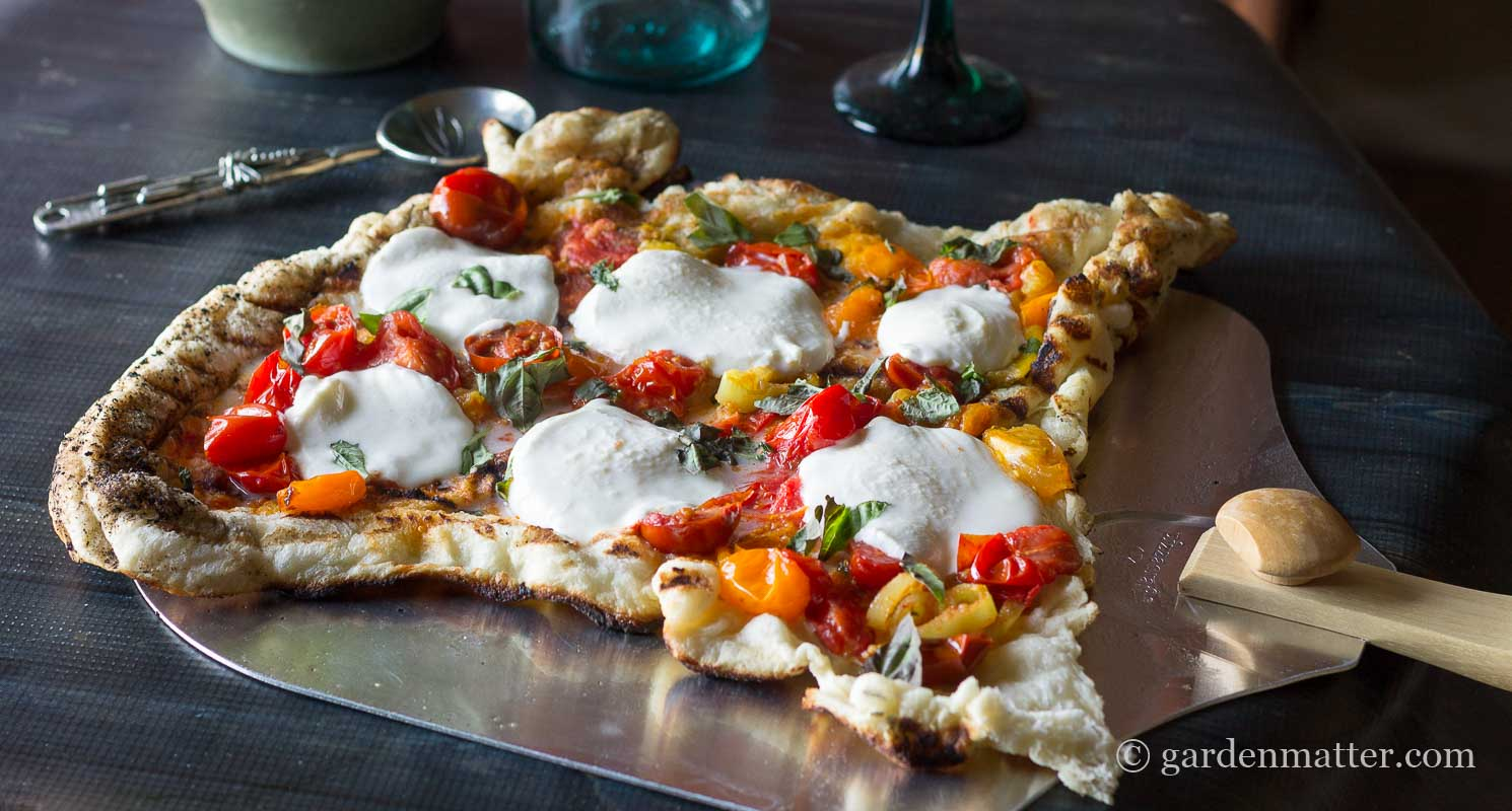 Finished Pizza on Peel ~ Grilled Pizza ~ gardenmatter.com