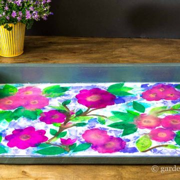 Finished Tray with Plexiglass ~ Bleeding Tissue Paper Art ~ gardenmatter.com