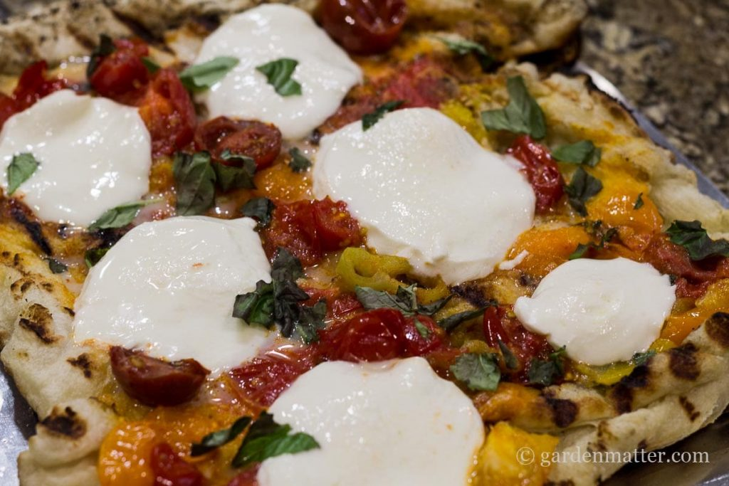 Finished pizza on grill ~ Grilled Pizza ~ gardenmatter.com