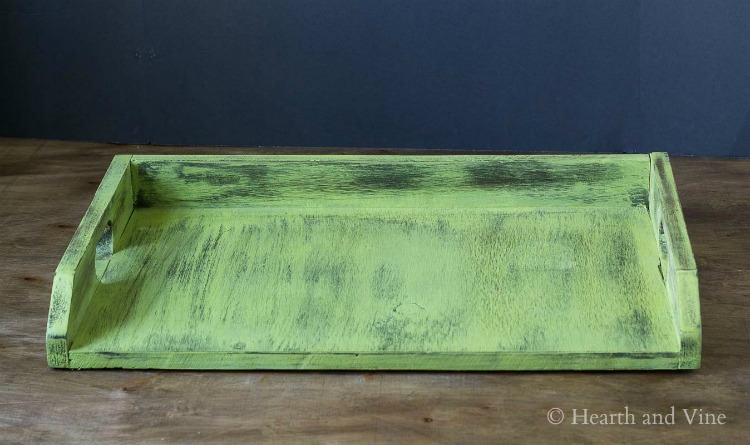 Old green wooden tray