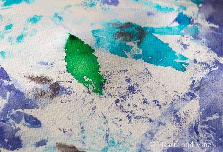 Tissue paper leaf print