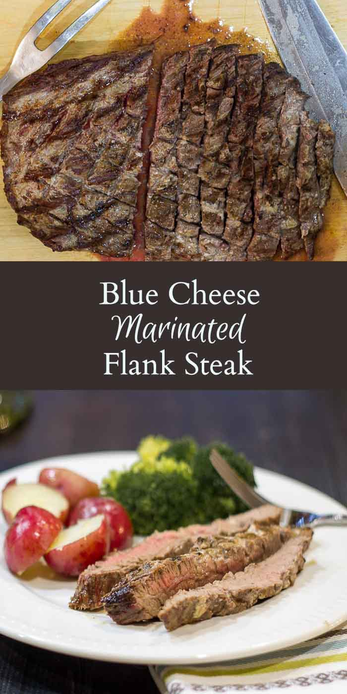 This recipe for blue cheese marinated flank steak is an easy, tasty and healthy option for red meat and works great for entertaining.