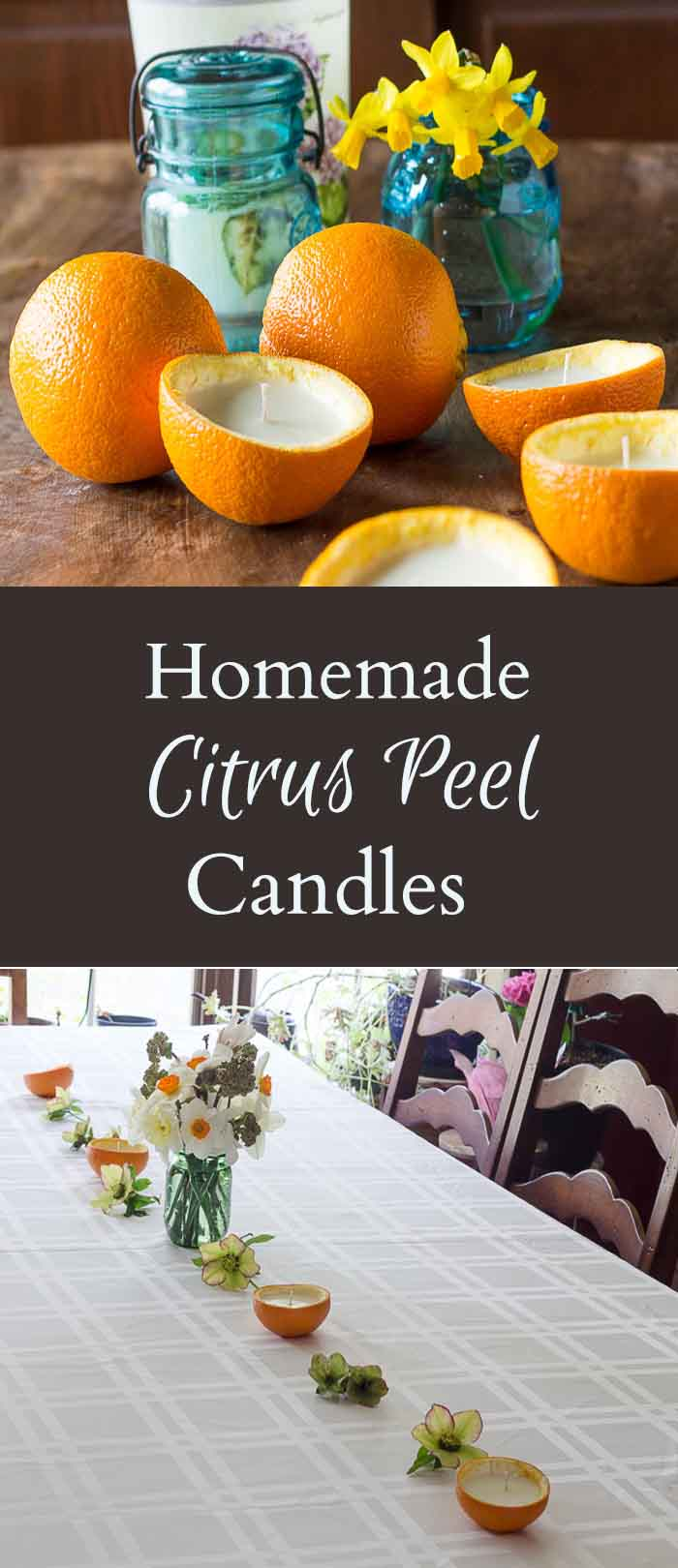 Learn how to make homemade candles with real orange rinds, wax and essential oils. They look so pretty and natural and will last for the evening.
