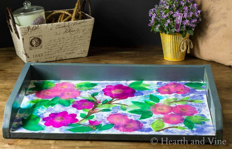 Tray with floral tissue art
