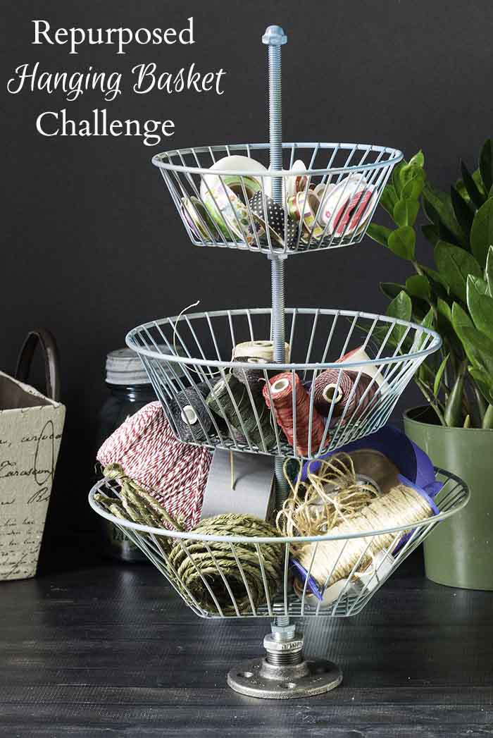 Learn how to re-purpose a hanging basket into a 3 tiered basket stand with a few hardware pieces. It's looks great and helps to organize yours supplies.
